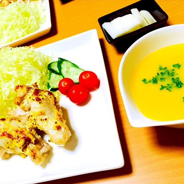 ハンドブレンダーを頂いたので♡ パンプキンスープうま(*'͜' )⋆* - 9件のもぐもぐ - マスタード焼き♡パンプキンスープ by hika1003