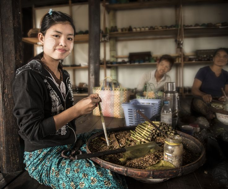 """""""I can make up to 400 cigars per day"""" These cigars are not made of tabacco, they are sweet cigars made of dried banana and pineapple, star anise, brown sugar, tamarind, honey, and rice wine, among other ingredients, often called """"Cheroot"""".  Cigar Maker – #Inle Lake, #Myanmar"""