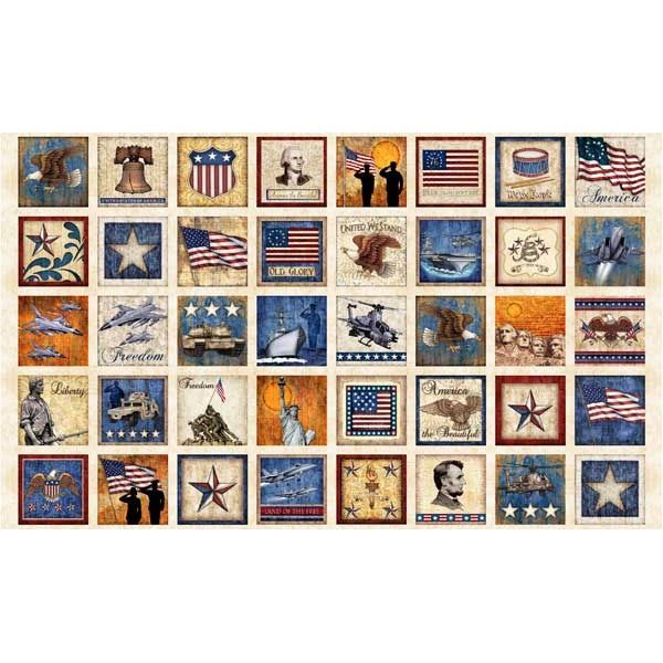 Quilting Treasures Fabrics Home Of The Brave by Dan Morris Patriotic Patches Sold by the 24 inch Panel