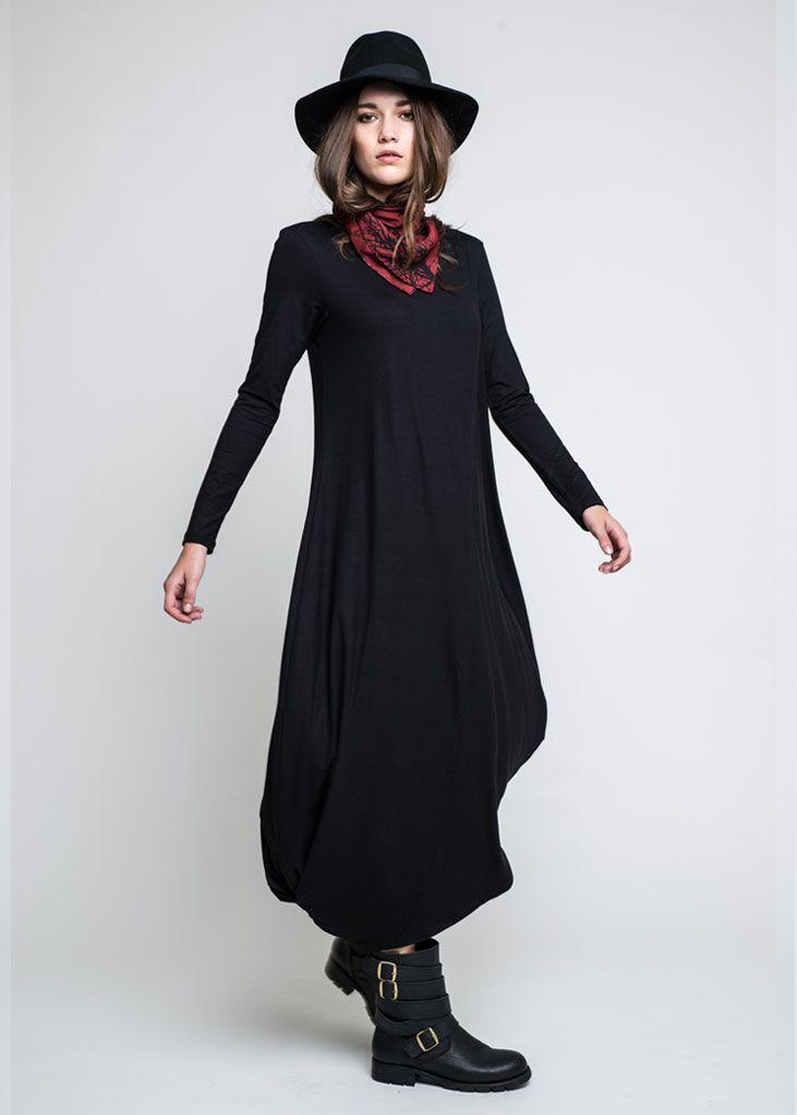 Stole Dress in nero