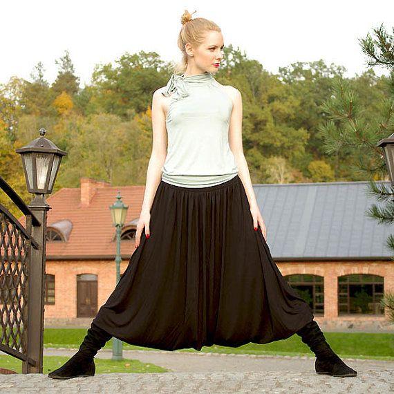 Zwarte lange gipsy harem Boheemse parachute broek-rok door evarica