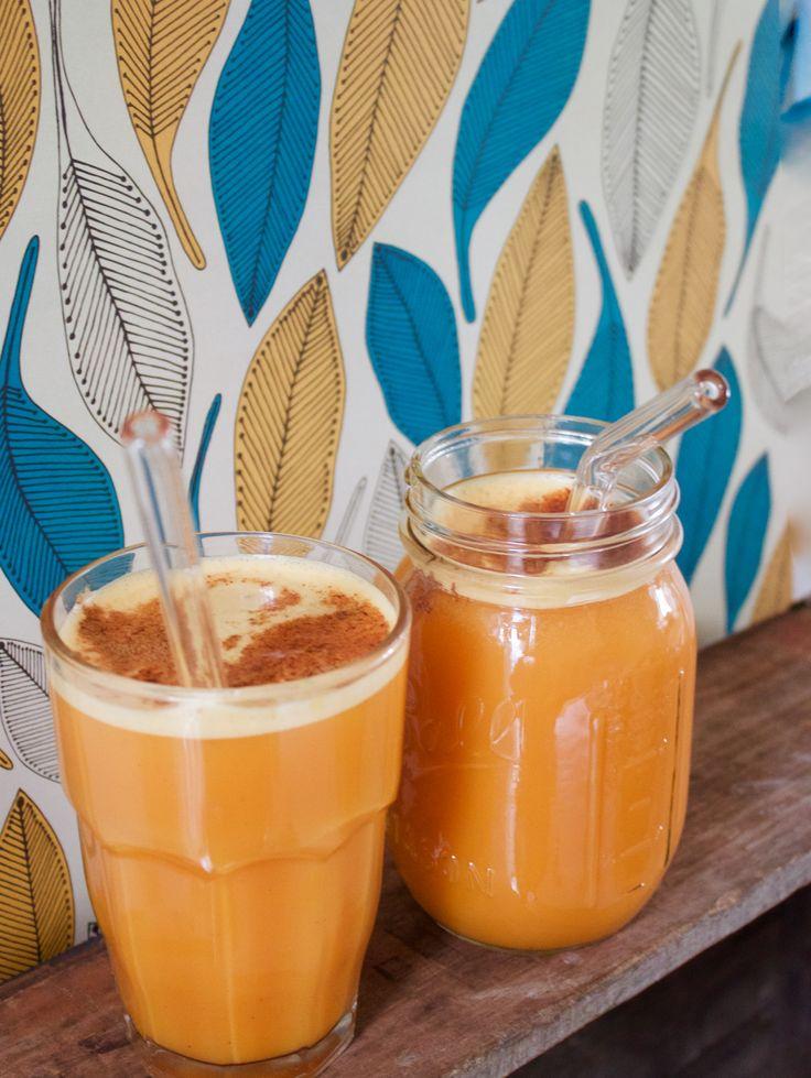 Spicy Orange juice with Stream glass straws.