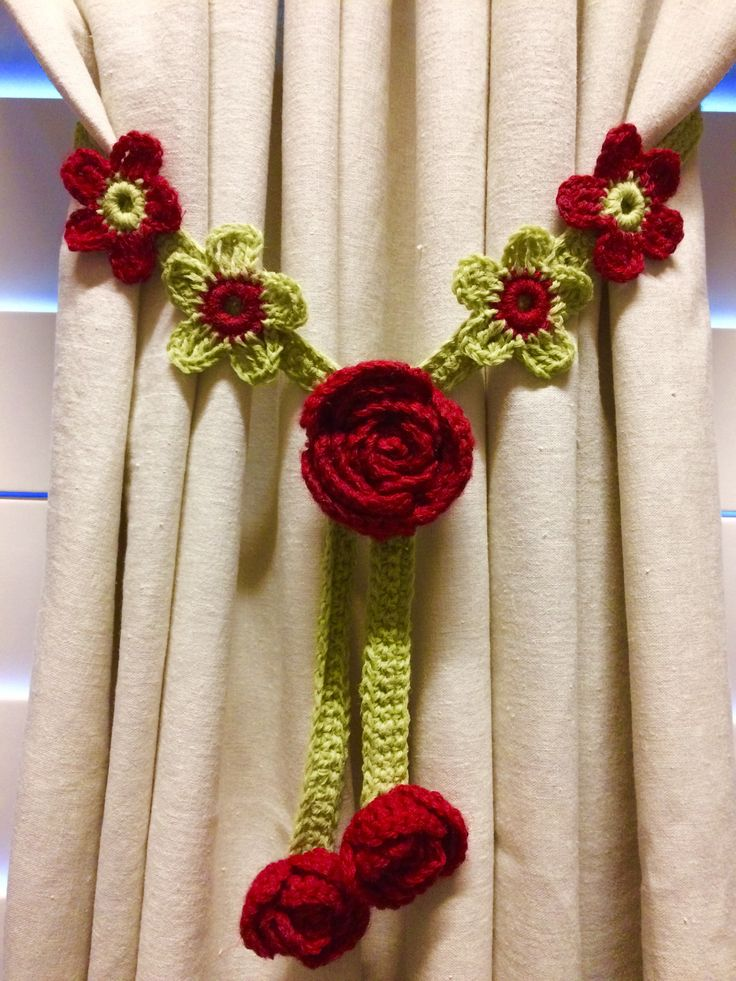 Crochet Curtain Tiebacks - 1 pair, apple green w/red rose by JinesCrafts on Etsy