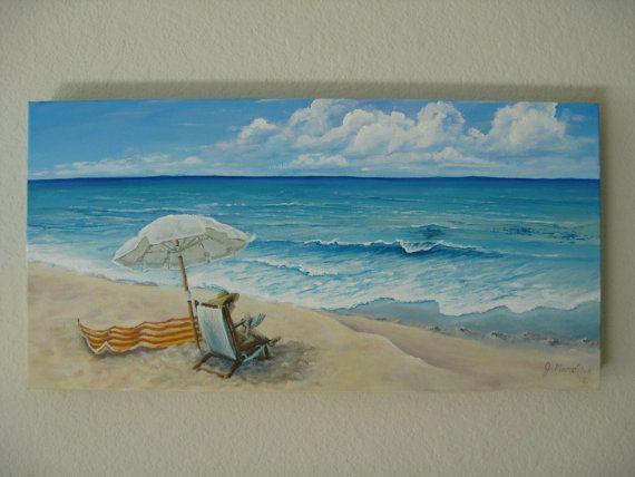 Original 12x24 Beach Painting On Canvas By J Mandrick