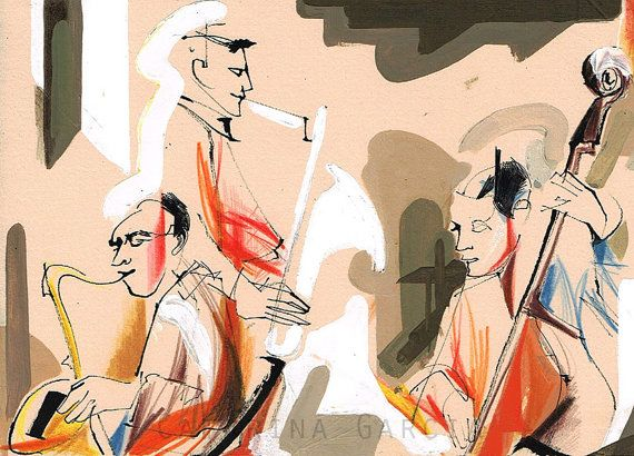 Violinist Jazz Musical Composition - Painting by Catarina Garcia