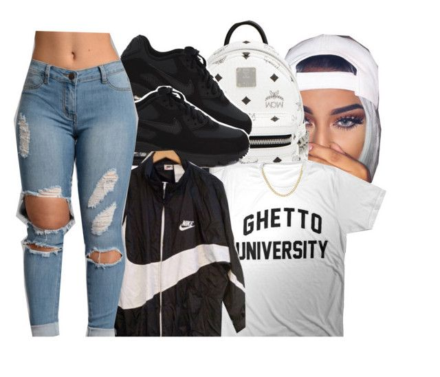 """Ghetto University"" by xbad-gyalx ❤ liked on Polyvore featuring MCM and NIKE"