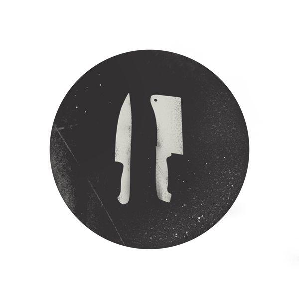 Butchers Logo, Knives, Tools, Sharp. instead of butcher knife, fork and spoon, framed
