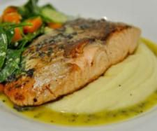 Steamed/Fried Salmon on Mash with Salad | Official Thermomix Recipe Community
