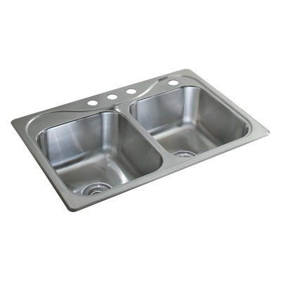 Sterling By Kohler Southhaven 11850 4 Double Basin Drop In Kitchen Sink 11850 4 Na