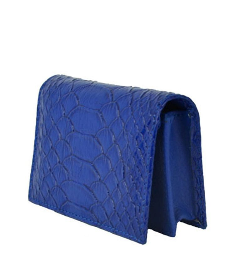 Snakeskin Textured Blue Colour PVC Women Purse