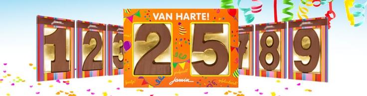 Nieuw! Twee cijfers verpakt in een cadeau sleeve. Ideaal voor een verjaardag, abraham, huwelijksjubilea, pensioen.