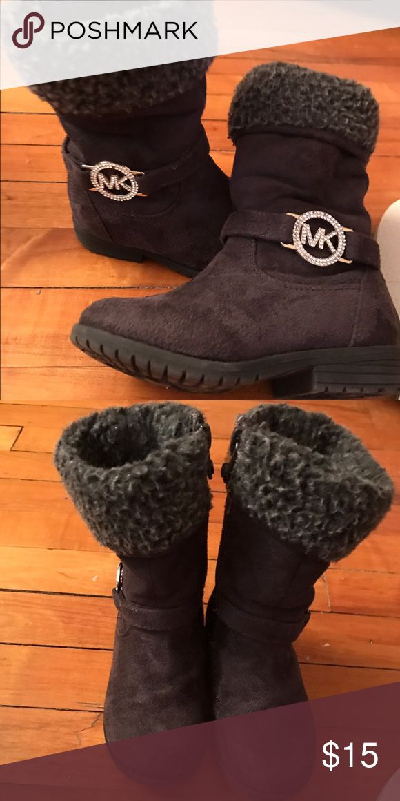 Toddler MK boots Dark grey faux suede MK boots. My daughter used them only a few times. KORS Michael Kors Shoes Boots