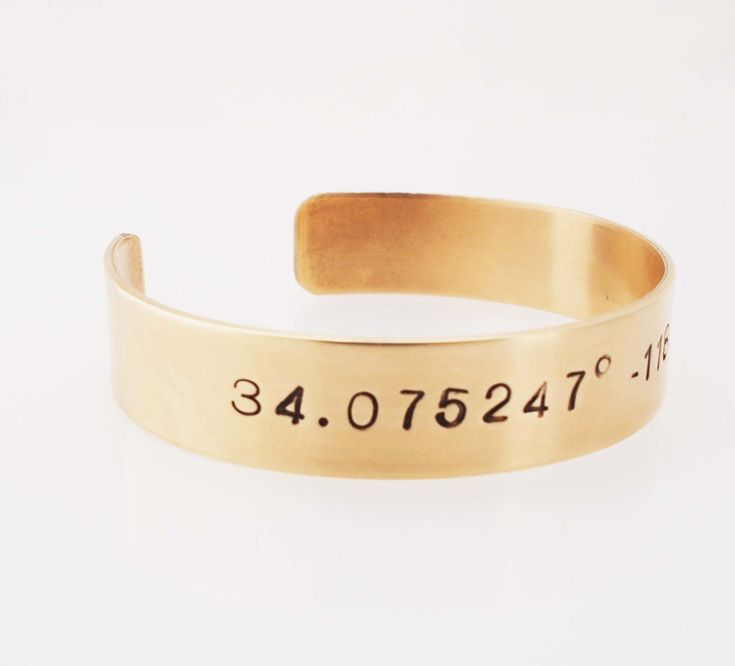 Map Coordinates Bracelet -  Latitude Longitude Cuff  - 8th Anniversary Gift - Bronze by madredeolivia on Etsy