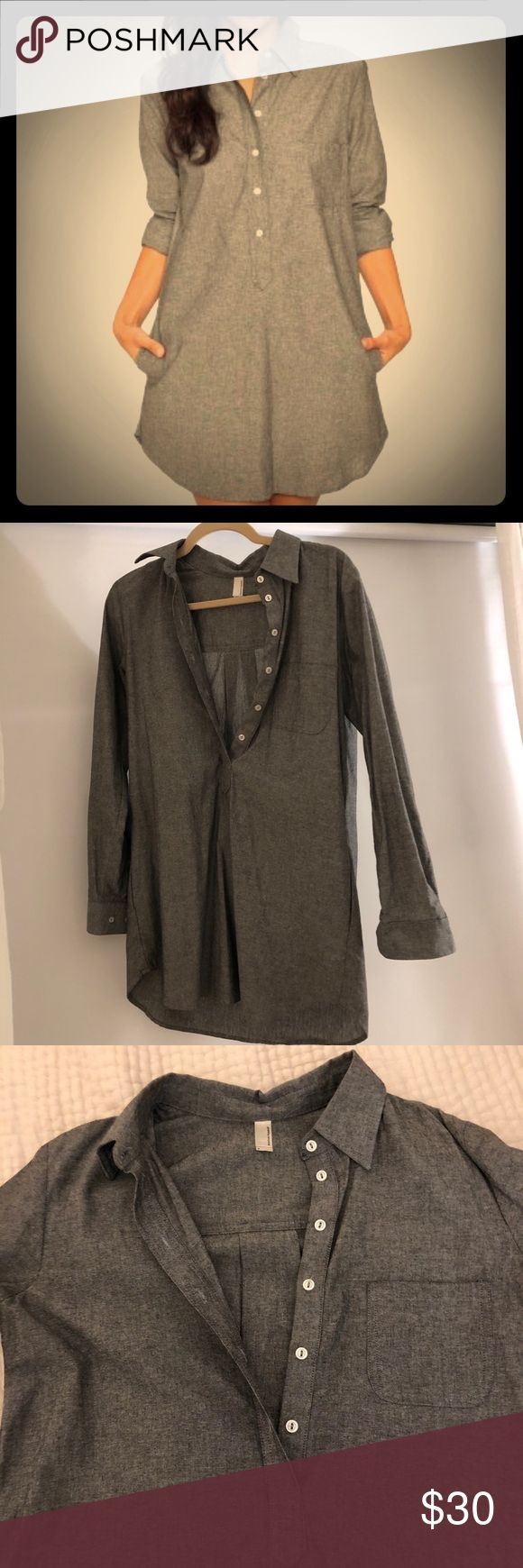 American Apparel gray chambray shirt dress/tunic American Apparel gray chambray shirt dress. Size small. Pairs great with leggings and boots! Accepting all offers 💕 American Apparel Dresses Long Sleeve