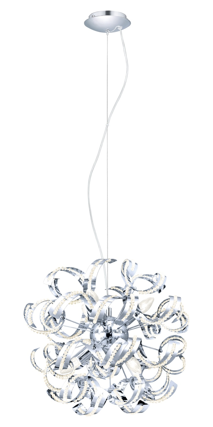 Laurenzo 6-Light Crystal | Twisted chrome and crystal light.