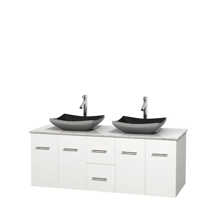 Wyndham Collection Centra 60-inch Double Bathroom Vanity in White, No Mirror (Black Granite, Ivory Marble or White Carrera) (60 White,WT Carrera Top,Avalon Car Sinks,No Mir), Size Double Vanities