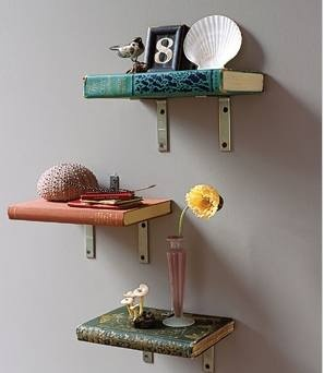 Repurposed Books for Book Shelves  Who woulda thought.. pretty self explantory on how to make...