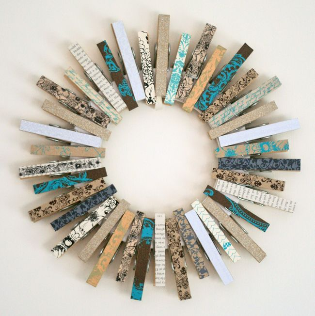 clothespin wreath with fabric covered clothes pins
