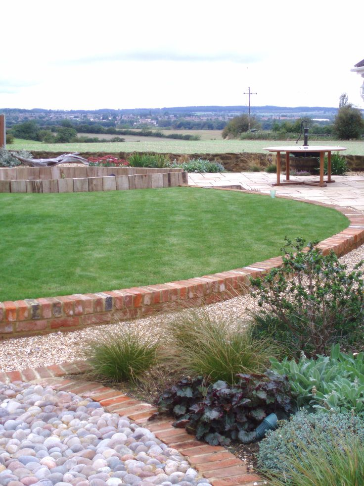 Low level planting and sunken garden for a windy site at Pulloxhill.