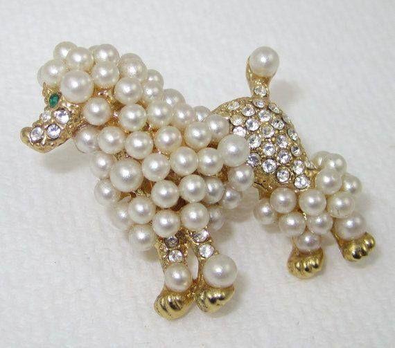 Pearl poodle pin