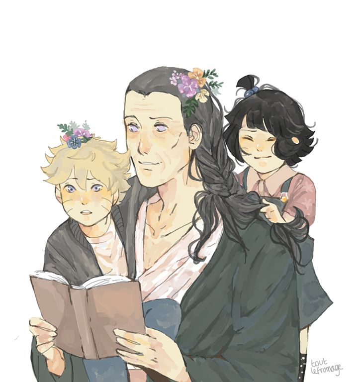 Grandpa Hiashi hanging out with his grandchildren <3 [by toutlefromage.tumblr.com]
