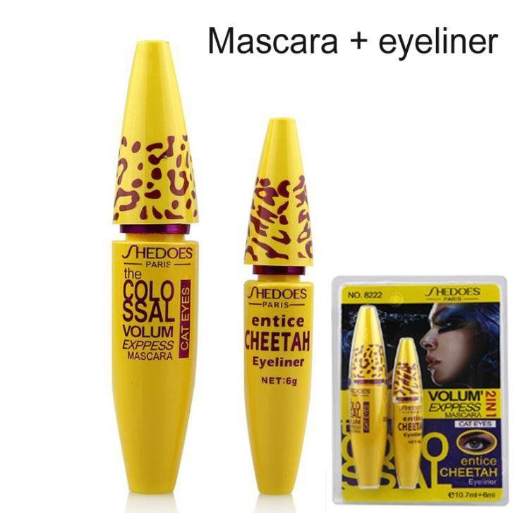 1Set=2pc High Quality Professional Make up Eye liner Set Leopard Colossal Black Mascara   Liquid Entice Cheetah Eyeliner