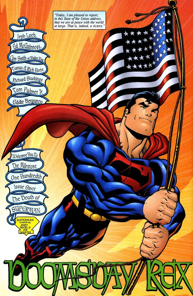 Superman With A American Flag