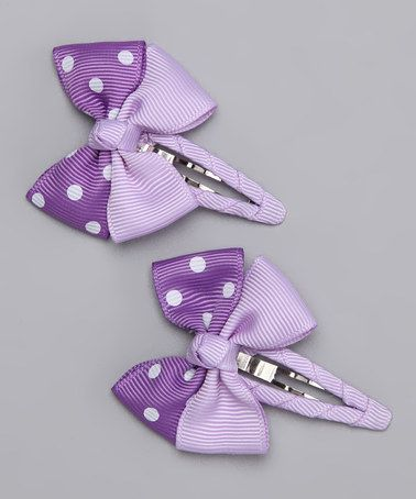 Look what I found on #zulily! Purple Snap Clip Set by Bubbly Bows #zulilyfinds