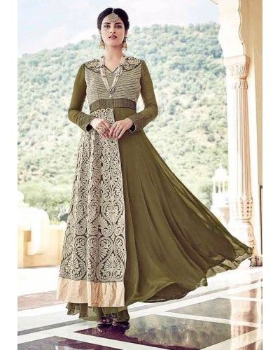 Olive Green Floor Length Anarkali