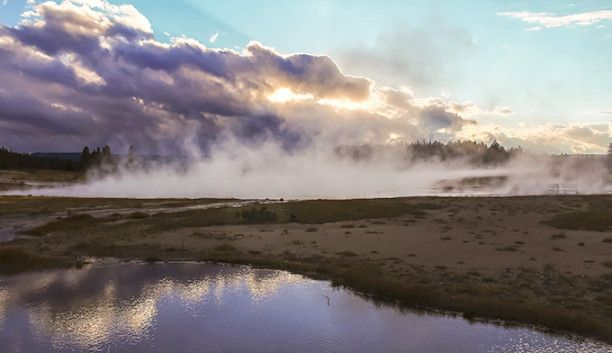Steaming landscape in Yellowstone National Park