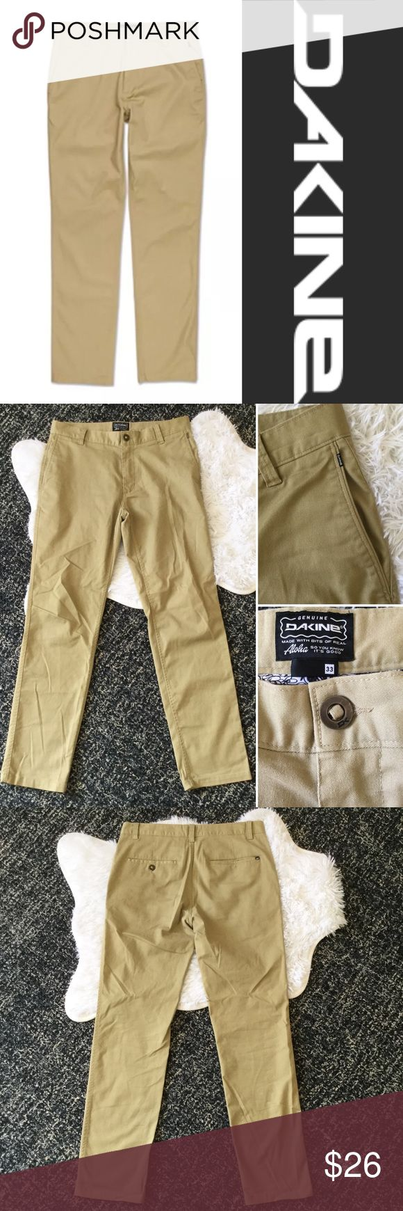 """DAKINE Downtown Chino Khaki Pant Sz 33 Dakine Chino Khaki Pant, Sz 33. Great pre-owned condition, light pilling & some wrinkles from storage. Style #10000081. Front zip with button closure, front slant pockets, back pockets. Measurements flat—waist: 17.5"""", inseam: about 32.5"""", front rise: about 10.75"""", leg opening: 7.5"""". Smoke free home. No trades, please. Last photo shows color best.  👉Visit my closet for more athletic & outdoor clothing! Dakine Pants Chinos & Khakis"""