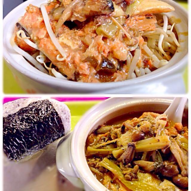 本日の職場ランチ  濃いめの味噌味が酷暑の中でも食欲を刺激します☆〜(ゝ。∂) - 69件のもぐもぐ - 鮭カマでちゃんちゃん焼き風レンチン by manilalaki
