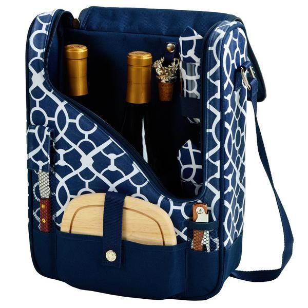 The Trellis Blue Pinot Wine Carrier is a compact Thermal Shield insulated wine and cheese cooler includes: acrylic glasses, napkins, corkscrew, bottle stopper,