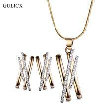 Gulicx original n design rodada cz conjuntos de jóias de cristal colares pingente de ouro-cor brincos de presentes para mulheres alishoppbrasil