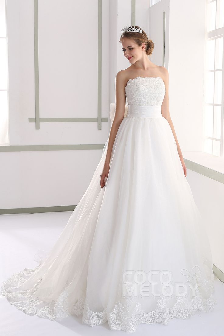 Fancy A-line Strapless Natural Train Tulle Ivory Sleeveless Lace Up-Corset Wedding Dress with Appliques LH189
