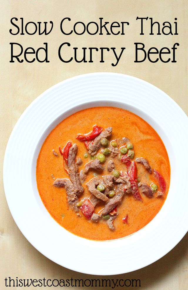 Thai Red Curry Beef is wonderfully flavourful and so easy to make in the slow cooker!