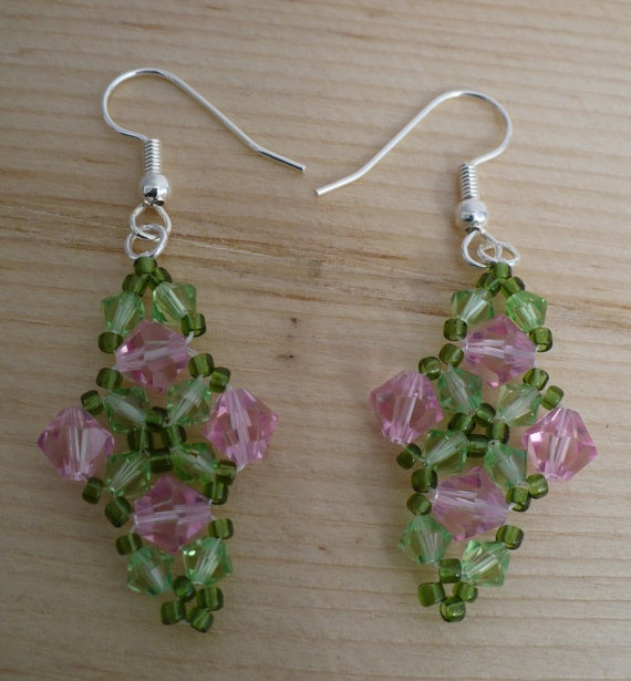 Pink and Green Crystal Earrings, Light Rose and Peridot Swarovski Crystal Earrings by Trinkets By Thandeka