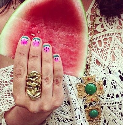 Melon on Melon  image via psimadethis instagramSummer Nail Polish, Nails Art, Polish Colors, Brightest Summer, Summer Nails, Hair Nails Makeup Fashion, Nails Polish, Watermelon Nails, Nails 3