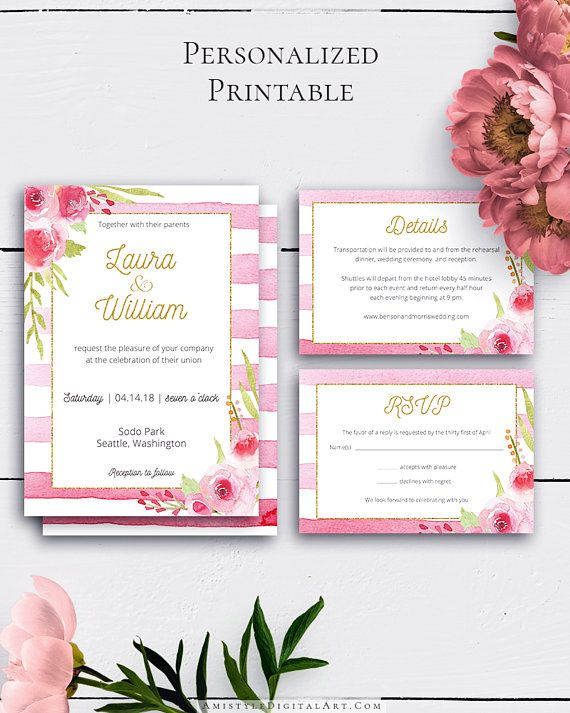 Shabby Chic Wedding Invitation Set with romantic and elegant watercolor florals and stripes.Build your suite - choose your card combination by Amistyle Digital Art on Etsy