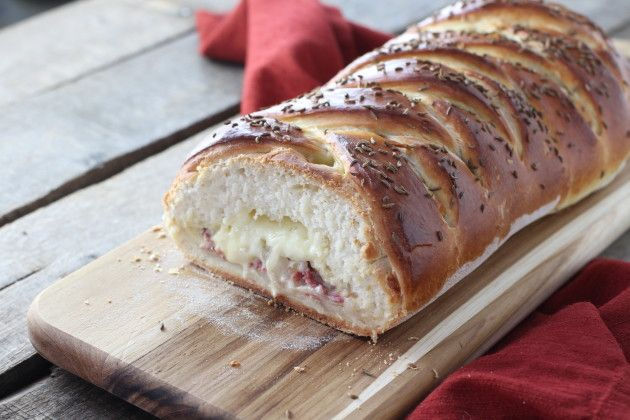 Reuben Bread with corned beef, sauerkraut, gooey cheese and spicy ...