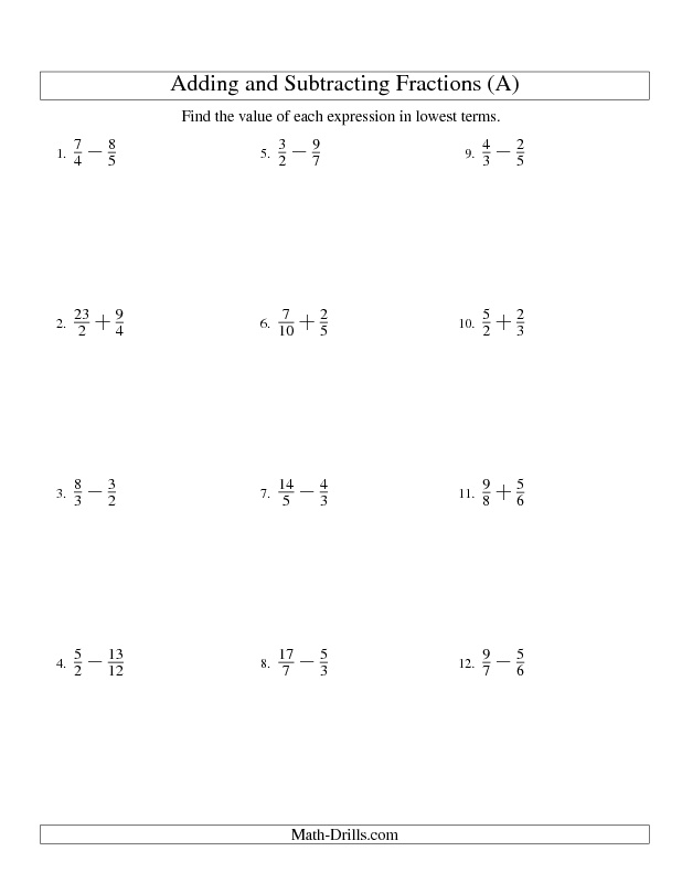 1000+ images about Math Fractions on Pinterest | Fractions ...Fractions Worksheet -- Adding and Subtracting Fractions -- No Mixed Fractions (A)