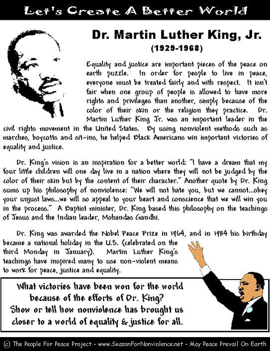 Martin Luther King, Jr. Worksheets & Coloring Pages