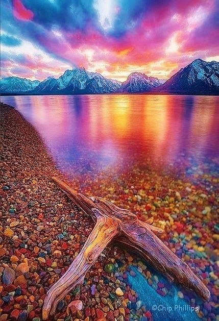 Not sure how much this is photoshop, but the colors are gorgeous! Jackson Lake is located in north western Wyoming in Grand Teton National Park