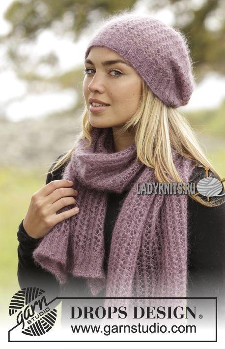 Ажурная женская шапка спицами в комплекте с шарфом