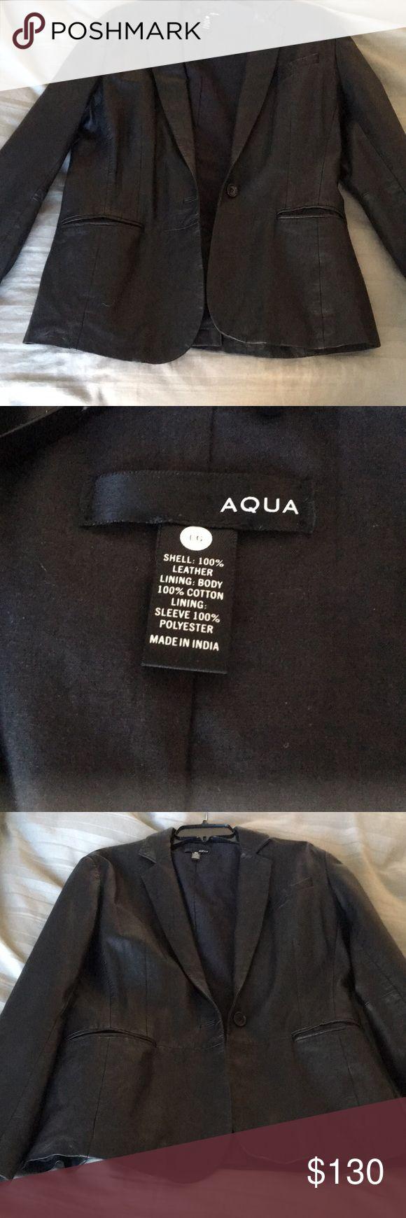 Bloomingdales Aqua Brand leather blazer- Black leather blazer new without tags- Bloomingdales Aqua brand size L Jackets & Coats Blazers