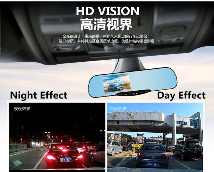 2016 Dual Camera Car Dvr Camera Rearview Mirror Dash 1080P 4.3'' Blue Review Parking Mirror Digital Video Recorder Free Shipping