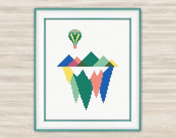 Geometric mountains Cross Stitch Pattern PDF air by TimeForStitch