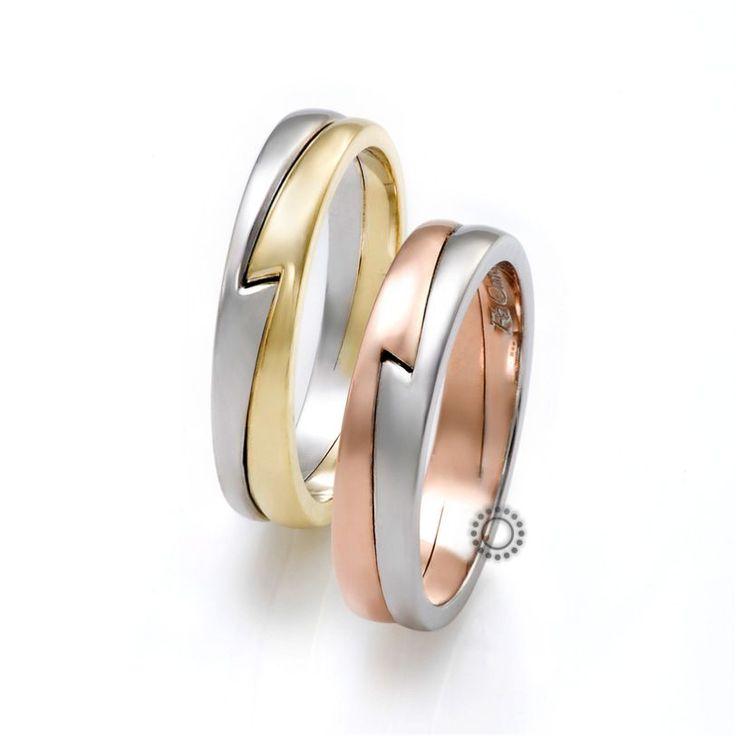 Βέρες γάμου FaCadoro 21Α/21Γ - Πολύ πρωτότυπες δίχρωμες βέρες από τη FaCadoro   Βέρες γάμου ΤΣΑΛΔΑΡΗΣ στο Χαλάνδρι #βέρες #βερες #γάμου #ροζ #χρυσός