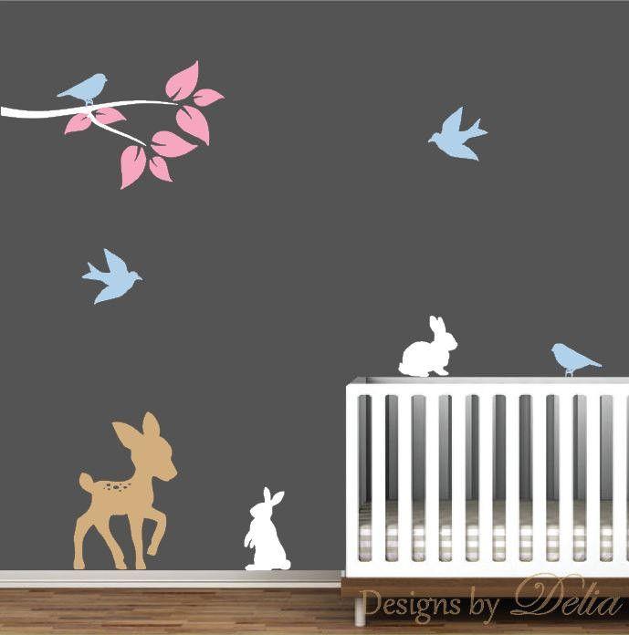 Deer Nursery Decal with Birds and Bunnies