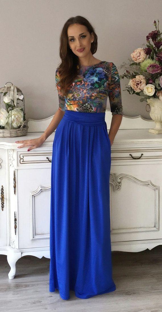 Royal Blue Flowers Print Maxi Dress 3/4 Sleeves Pockets